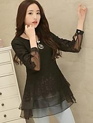 Las mujeres de la camisa de la ANE Bottom coreana del cordón delgado dulce de manga larga ()