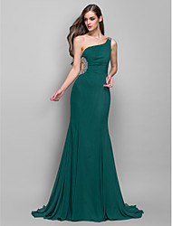 Formal Evening/Military Ball Dress - Dark Green Plus Sizes Trumpet/Mermaid One Shoulder Sweep/Brush Train Chiffon