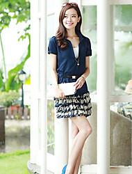 Women's Plus Size Dress Mini Short Sleeve Beige / Green Summer