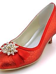 Feminino Wedding Shoes Saltos/Bico Fechado Saltos Casamento/Festas & Noite Preto/Azul/Vermelho/Marfim/Branco/Prateado/Dourado