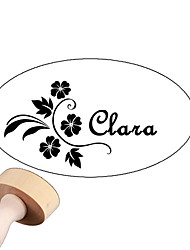 Personalized 30x40mm Wedding & Business Flower Pattern Oval Carved Boxwood Signet Name Stamp(within 8 Letters)