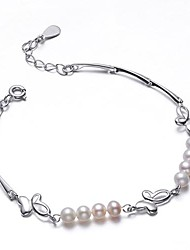 Hanazo s женщина серебра 925 4.5mmmm Natrual Жемчужный браслет