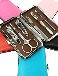 6PCS Nail Clippers Manicure Kits Within Pure Colour Manicure Leather Bag(Random Color)