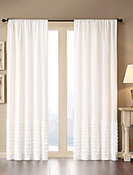 Modern One Panel Solid White Living Room Cotton Panel Curtains Drapes