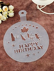 Plastic Happy Birthday And Leaf Hard Spray Flower Cake Mould,Dia 15cm