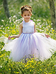 Ball Gown Floor-length Flower Girl Dress - Satin / Tulle Sleeveless Halter with Flower(s)