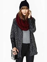 HAODUOYI ™ PU Leather Splicing Blends Wool Coat