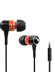 Fashion AWei Q3i  3.5mm Plug In-Ear Aluminum Alloy Super Bass  Microphone Earphones-(Orange / Blue / Black)