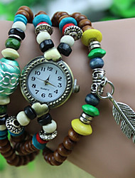 Werolex Buddhist Prayer Beads Leave Chain Wooden Bead  Watch WB0513061