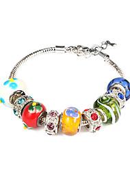 Rhinestone multicolore de silicone 20cm européen des femmes et le bracelet de charme en alliage (1 PC)