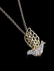 Bird Shaped Brass Gold Plated With Cubic Zirconia Women's Necklace(More Colors)