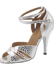 Woman's Silver Leatherette Ballroom Dance Shoes Customizable