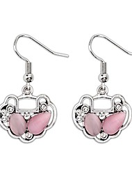 Delicate Longevity Lock Design Alloy Silver Plated with Opal And Rhinestone Drop Earrings (More Colors)