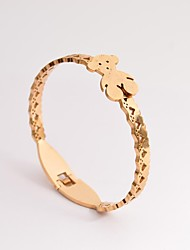 Fashion Women's Gold Bears Titanium Steel Bangle