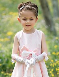 Атласные пальцев Цветочница локтя перчатки с луком