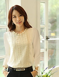 Women's Tops & Blouses , Chiffon Casual Long Sleeve Collins