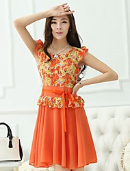 Kethlyn Women's Floral Print Chiffon Fresh Sleeveless Orange Dress