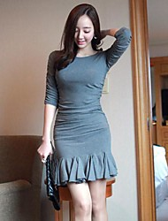 Women's Solid Gray Dress Round Neck ½ Length Sleeve Pleated