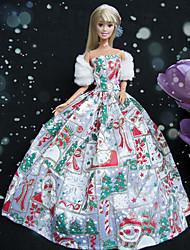 Barbie Doll Christmas Party Princess Style Snowman Pattern Dress