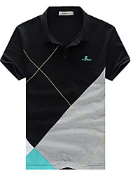 Colore manica corta T shirt Contrast casual di alta qualità SMWsport Uomo (Nero)
