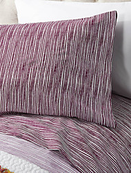 "Sheet Set,4-Piece Microfiber Stripe Burgundy with 12"" Pocket Depth"