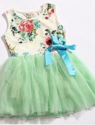 Condado de verano de manga corta estilo de la flor del vestido del tutú de la muchacha