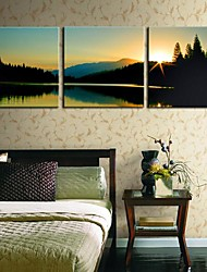 Stretched Canvas Art Landscape The Lake Scenery Set of 3