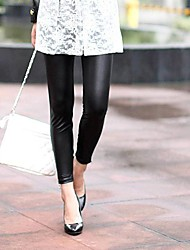 Women's Leather Zip Up Fashion Tights  Leggings