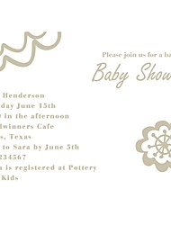 Personalized White Baby Shower Cards - Set of 12