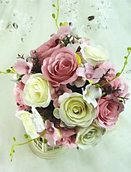 "Wedding Flowers Free-form Roses Bouquets Satin / Silk 9.84""(Approx.25cm)"
