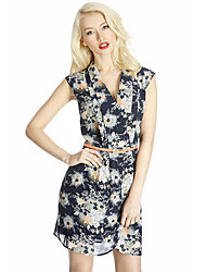 Z&G women's Tailor Collar Floral Print Chiffon Short Dress