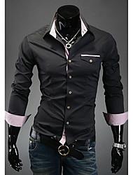 A & W Männer Check Innerhalb Fake-Taschen-Hemd Schwarz A21006