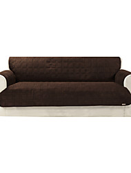 Waterproof Microsuede Brown Solid Mini Cube Quilting Sofa Cover
