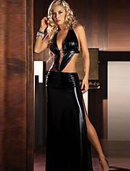 Sexy chica cuero brillante de la PU de las mujeres del vestido de noche del partido Uniforme Sexy