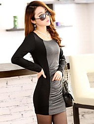 Women's Casual/Daily Sexy / Cute Dress,Color Block Deep U Above Knee Long Sleeve Multi-color Cotton All Seasons