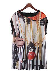 Современной эпохи Женская шею Цветочный печати рукавов футболки