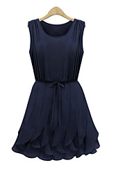XNR Chiffon-Falte Falbala Kleid (Royal Blue)