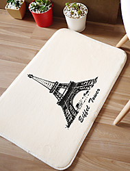 "Bath Mat Modern Memory Foam Eiffel Tower W16"" x L24""- 4 Colours Available"