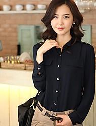 ORG Женская корейской версии Стенд воротник рубашки шифона