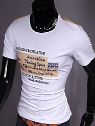 Herren T-shirt-Druck Freizeit Baumwolle Kurz-Schwarz / Orange / Weiß