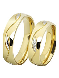 Couple Rings Band Rings AAA Cubic Zirconia Love Luxury Stainless Steel Gold Plated Imitation Diamond Circle Jewelry Black Golden Jewelry