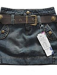 Женская заклепки Denim Бюст юбка
