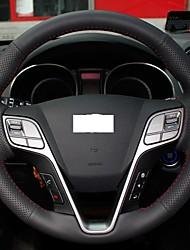 Натуральная кожа Xuji ™ Черный Руль Обложка для Hyundai Santa Fe 2013 2014