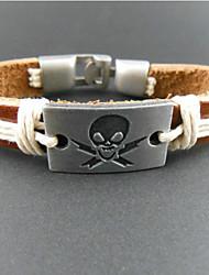 Wrap Bracelet multicolore de cuir de mode de rectangle de 20 cm Homme de crâne (1 PC)