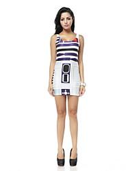 Women's Geometric Multi-color Dress , Sexy Deep U Sleeveless