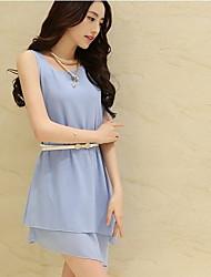 Michaela Korean Chiffon Sleeveless Dress With Belt(Light Blue)-1192