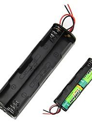 DIY 12V a 4 slot 8 x AA batteria Double Deck Back to Back supporto della cassa della scatola con cavi