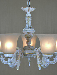 European-Style Retro 5 Light Chandelier In White Shade