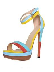 bc verão couro colorido 15 centímetros de bombas plataforma do salto sandálias sapatos femininos com alça ankel