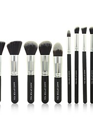 10 Pcs Black Professional Cosmetic Makeup Brushes Set